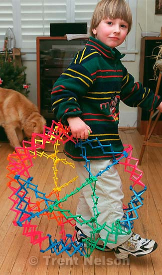 Noah Nelson with the Hoberman sphere.<br />