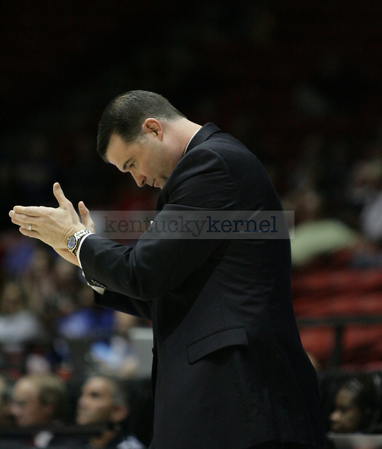 UK Hoops' Head Coach Matthew Mitchell claps after a Kentucky foul in the second half of UK Hoops' first round NCAA game against Hampton in The Pit in Albuquerque, New Mexico, 3/19/11. Photo by Brandon Goodwin | Staff.