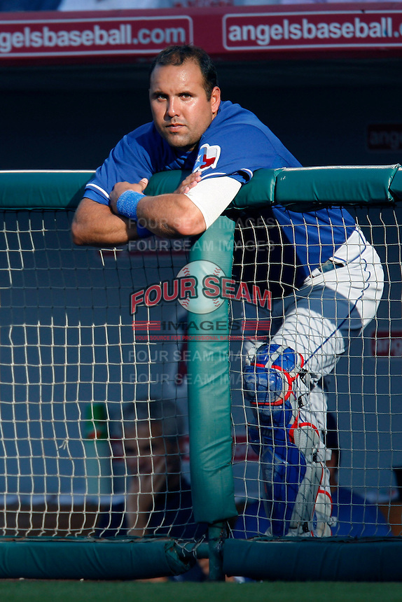 Gerald Laird of the Texas Rangers during a game against the Los Angeles Angels in a 2007 MLB season game at Angel Stadium in Anaheim, California. (Larry Goren/Four Seam Images)