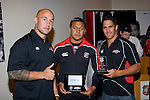 Under 16's Most Improved Player of the Year Laiseni Kakato with DJ Forbes & Chad Tuoro. Counties Manukau Rugby Union Junior representative prize giving held at Growers Stadium on Monday October 20th 2008.