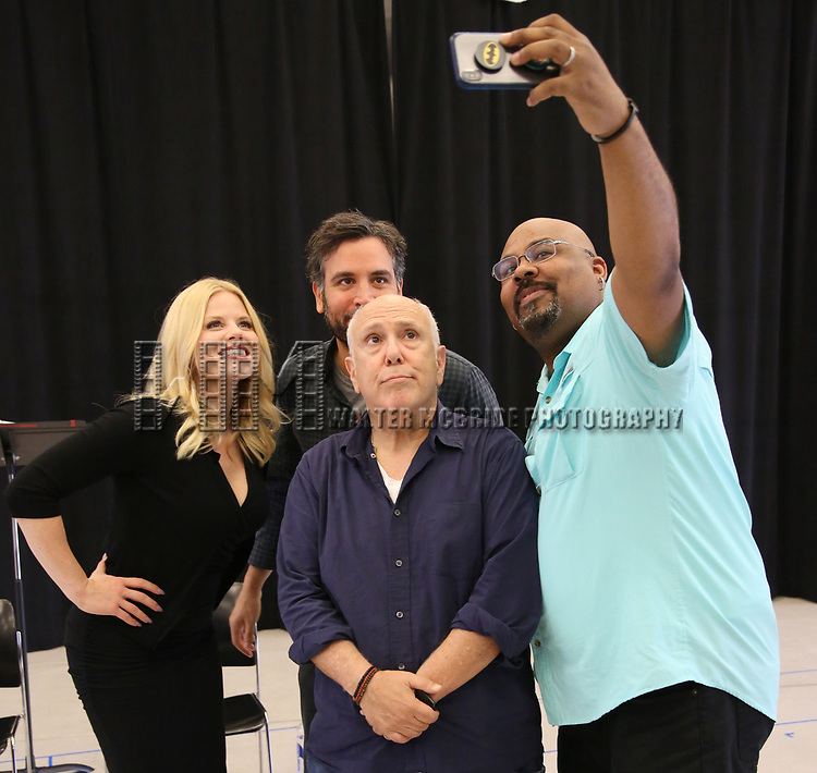 """Megan Hilty, Josh Radnor, Lee Wilkof and James Monroe Iglehart In Rehearsal for the Kennedy Center production of """"Little Shop of Horrors"""" on October 11 2018 at Ballet Hispanica in New York City."""