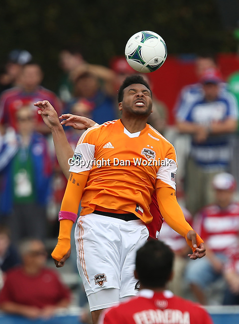 Houston Dynamo midfielder Giles Barnes (23) in action during the game between the FC Dallas and the Houston Dynamo at the FC Dallas Stadium in Frisco,Texas.