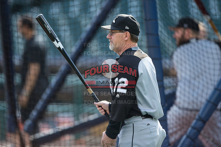 Chicago White Sox third base coach Nick Capra (12) hits ground balls during batting practice prior to the game against the Detroit Tigers at Comerica Park on June 2, 2017 in Detroit, Michigan.  The Tigers defeated the White Sox 15-5.  (Brian Westerholt/Four Seam Images)