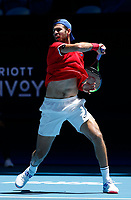 7th January 2020; RAC Arena, Perth, Western Australia; ATP Cup Australia, Perth, Day 5; Russia versus Norway; Karen Khachanov of Russia plays a forehand shot against Viktor Durasovic of Norway - Editorial Use