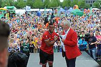 VOETBAL: ABE LENSTRA STADION: HEERENVEEN: 05-07-2014, Open dag SC Heerenveen, Pele van Anholt met de nieuwe selectie tijdens het voorstellen aan het publiek, ©foto Martin de Jong
