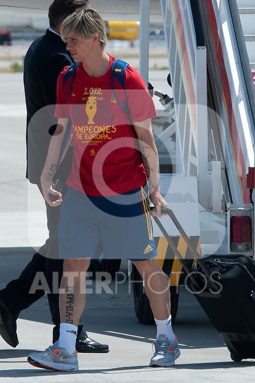 Spanish football team Fernando Torres during his arrival at Barajas airport after his victory at Euro 2012..(Alterphotos/Ricky)