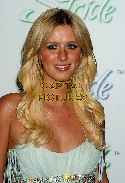"NICKY HILTON.Arrivals at the launch of ""Stride"", the new long lasting gum from Cadbury Adams, at The Waterfront, New York, NY, USA..June 21st, 2006.Ref: IW.headshot portrait Nikki Nicki blue jewel diamond belt.www.capitalpictures.com.sales@capitalpictures.com.©Capital Pictures"