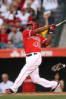 Torii Hunter #48 of the Los Angeles Angels bats against the Seattle Mariners at Angel Stadium on June 5, 2012 in Anaheim,California. Los Angeles defeated Seattle 6-1.(Larry Goren/Four Seam Images)