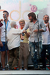 Inauguration of the gay pride festivities held MADO2012 in the Madrid district of Chueca.The actor Fernando Tejero celebrate the inauguration speech at the assembled audience  with several members of the gay and lesbian Spain..(Alterphotos/Ricky)