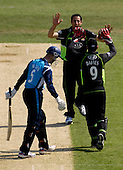 Cricket - CB40 Surrey Lions V Scottish Saltires at the Kia Oval - London - a terrific bowling performance by Surrey's Jade Dernbach - here dismissing Saltire Gregor Maiden for 20 - with figures of 8 overs for 13 runs and 2 wickets - Picture by Donald MacLeod - 01.05.11 - 07702 319 738 - www.donald-macleod.com - clanmacleod@btinternet.com