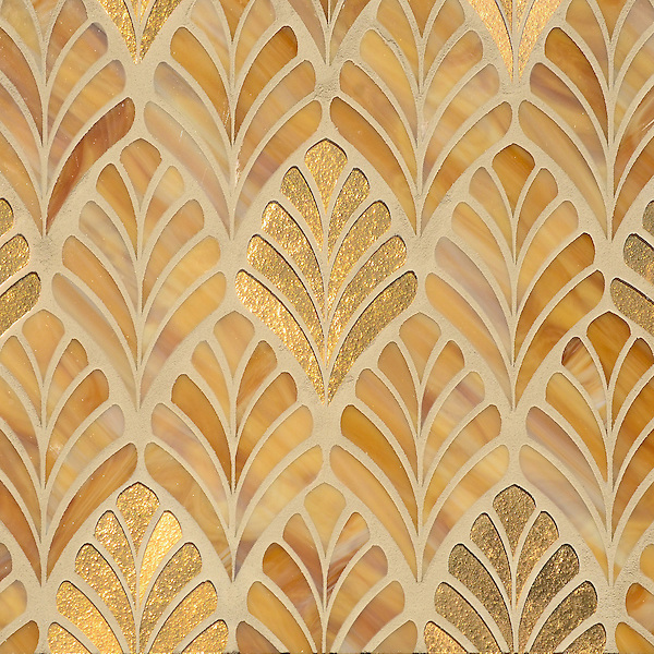 Margot, a waterjet mosaic shown in Tiger's Eye Jewel Glass and 24K Gold Glass, is part of the Aurora® collection by New Ravenna.