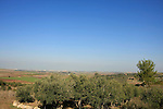 Israel, Shephelah, a view of Latrun Monastery and Ayalon Valley from Neve Shalom  .