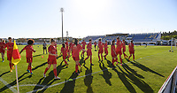 20200310  Lagos , Portugal : Belgian players pictured during warming up of  the female football game between the national teams of Belgium called the Red Flames and Denmark on the third and last matchday for the 5th or 6th place of the Algarve Cup 2020 , a prestigious friendly womensoccer tournament in Portugal , on tuesday 10 th March 2020 in Lagos , Portugal . PHOTO SPORTPIX.BE | DAVID CATRY
