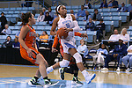 17 November 2015: North Carolina's Stephanie Watts (5) and Florida A&M's Victoria Nguyen (3). The University of North Carolina Tar Heels hosted the Florida A&M University Rattlers at Carmichael Arena in Chapel Hill, North Carolina in a 2015-16 NCAA Division I Women's Basketball game. UNC won the game 94-58.