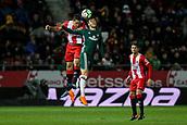 13th April 2018, Estadi Montilivi, Girona, Spain; La Liga football, Girona versus Real Betis; Bernardo Espinosa of Girona and Loren Moron of Betis challenges for the aerial ball