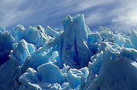 Fluted ICE SCULPTURES of the massive GREY GLACIER in TORRES DEL PAINE NATIONAL PARK - PATAGONIA, CHILE