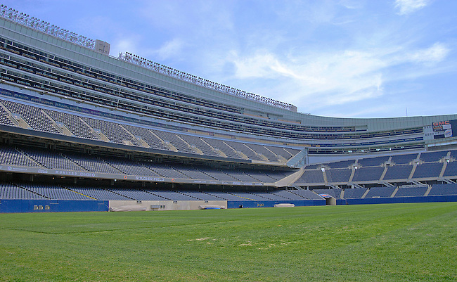 Soldier Field sits empty in Spring, awaiting another fottball season. Built in the early twentieth century, the stadium has been renovated to serve Chicago for another hundred years and is the home of the Chicago Bears professional NFL Football team, Chicago, Illinois