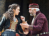 The Merchant of Venice <br /> by William Shakespeare <br /> at The Globe Theatre, London, Great Britain <br /> 25th April 2015 <br /> <br /> Jonathan Pryce as Shylock <br /> <br /> Phoebe Pryce as Jessica <br /> <br /> <br /> <br /> Photograph by Elliott Franks <br /> Image licensed to Elliott Franks Photography Services