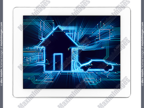 Connected house and electric car future home automation household technology conceptual diagram on display of a tablet computer isolated on white background