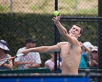 Bernard Tomic (AUS) Practice<br /> <br /> Tennis - Brisbane International 2015 - ATP 250 - WTA -  Queensland Tennis Centre - Brisbane - Queensland - Australia  - 4 January 2015. <br /> &copy; Tennis Photo Network