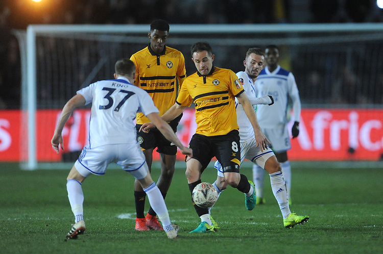 Newport County's Matthew Dolan battles in the middle of the park <br /> <br /> Photographer Ian Cook/CameraSport<br /> <br /> The Emirates FA Cup Third Round - Newport County v Leicester City - Sunday 6th January 2019 - Rodney Parade - Newport<br />  <br /> World Copyright © 2019 CameraSport. All rights reserved. 43 Linden Ave. Countesthorpe. Leicester. England. LE8 5PG - Tel: +44 (0) 116 277 4147 - admin@camerasport.com - www.camerasport.com