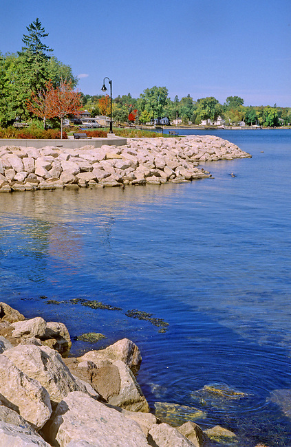 The Sturgeon Bay Harbor is newley refurbished with walks and riprap along the shore, Sturgeon Bay, Door County, Wisconsin