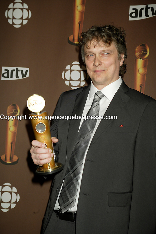 Montreal (Qc) CANADA - March 29 2009 - Jutras award  Gala (for Quebec Cinema) : Normand d'Amour, meilleur acteur de soutien (best supporting actor), Bordeline