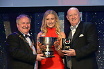 Jacqueline Brunton, Leixlip Musical Society, County Kildare winner of the Best Comedienne / Gilbert Section for her role as 'Elle' in 'Legally Blonde' receiving the trophy from on  left, Colm Moules, President, AIMS and Seamus Power, Vice-President at the Association of Irish Musical Societies annual awards in the INEC, KIllarney at the weekend.<br /> Photo: Don MacMonagle -macmonagle.com<br /> <br /> <br /> <br /> repro free photo from AIMS<br /> Further Information:<br /> Kate Furlong AIMS PRO kate.furlong84@gmail.com