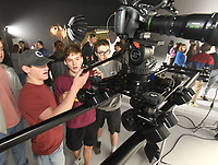 NWA Democrat-Gazette/FLIP PUTTHOFF <br /> STUDIO TOUR<br /> Fayetteville High School students Sam Kielkak (from left) and Collin Schultz look at a camera Tuesday Feb. 5 2019 during an open house and ribbon cutting at Farm Studios in the Hiwasse community near Arkansas 279 and Arkansas 72. The studio is designed to meet a variety of television, movie and media needs for Northwest Arkansas. Farm Studios includes a 9,500-square-foot sound stage, large lighting grid, dressing rooms and a construction workshop. Attendees at the open house include television and movie professionals, chambers of commerce representatives and high school students interested in the televison, movie and photography industries.