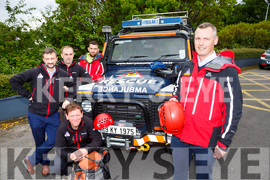 Alan Wallace and the members of Kerry Mountain Rescue who rescued two holiday makers on Friday evening l-r: Piaras Kelly, John Hussey Mark Kirk and Mike Finn