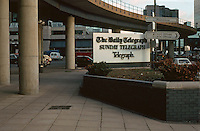 London Docklands:  South Quay.  The Daily Telegraph--signage.  Photo '90.