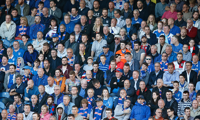 Rangers fans with a wide range of expressions early in the first half
