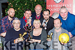 Denis and Lotte Lyne and Mike McSweeney along with back row l-r: Thiemen van Benthem, Paudie Murphy, Tom Tobin, Ray Lyne and Joe Daly launch the Stephen Lyne Foundation 5 a side indoor football tournament which will be held in Killarney Sports Centre on the 7th-8th January