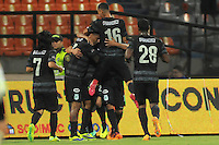 MEDELLIN - COLOMBIA -29 - 01-2014: Los jugadores de Atletico Nacional celebran el gol anotado durante partido de vuelta entre Atletico Nacional y Deportivo Cali por la Super Liga 2014, en el estadio Atanasio Girardot de la ciudad de Medellin.  / The players of Atletico Nacional, celebrate a goal scored during the match between Atletico Nacional and Deportivo Cali for the second leg of the Super Liga 2014 at the Atanasio Girardot Stadium in Medellin city. Photo: VizzorImage / Luis Rios / Str