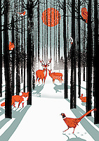 Group of animals in forest in winter