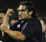 Piri Weepu leads the All Black Haka 'Kapo O Pango' prior to the first Iveco rugby union international test match between the All Blacks and France at Eden Park, Auckland, New Zealand on Saturday 02 June 2007.