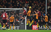 23rd November 2019; Vitality Stadium, Bournemouth, Dorset, England; English Premier League Football, Bournemouth Athletic versus Wolverhampton Wanderers; Romain Saiss of Wolverhampton Wanderers defends the corner under pressure from Steve Cook of Bournemouth - Strictly Editorial Use Only. No use with unauthorized audio, video, data, fixture lists, club/league logos or 'live' services. Online in-match use limited to 120 images, no video emulation. No use in betting, games or single club/league/player publications