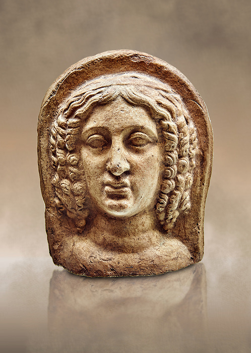 3rd - 2nd century B.C Etruscan architectural voitive plaques of women, inv 4770, National Archaeological Museum Florence, Italy
