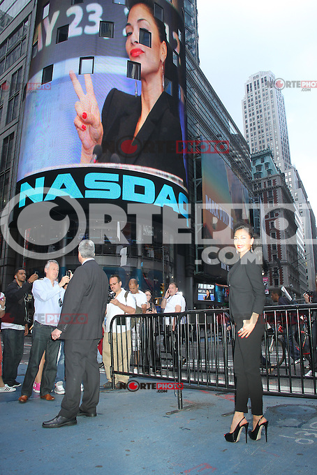 May 23, 2012 Nicole Scherzinger before ringing the opening bell at the NASDAQ MarketSite promoting Men In Black III on MIB Loves NYC Day at Times Square in New York City. Credit: RW/MediaPunch Inc.