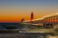 64795-01309 Grand Haven South Pier Lighthouse at sunset on Lake Michigan, Ottawa County, Grand Haven, MI