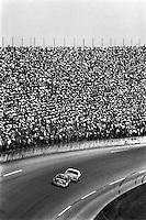 DAYTONA BEACH, FL - FEBRUARY 17: Daytona 500 winner Bill Elliott drives the Harry Melling Ford Thunderbird ahead of Cale Yarborough in the Harry Ranier Ford Thunderbird during the Daytona 500 NASCAR Winston Cup race at the Daytona International Speedway in Daytona Beach, Florida on February 17, 1985.