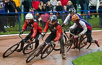 31 AUG 2015 - IPSWICH, GBR - Lewis Osborne (second from the left) leads his Horspath team mate Zac Payne (left) and Ipswich's Adam Peck and Jamie Chittock during a heat at the British Cycle Speedway Championships at Whitton Sports and Community Centre in Ipswich, Suffolk, Great Britain (PHOTO COPYRIGHT © 2015 NIGEL FARROW, ALL RIGHTS RESERVED)