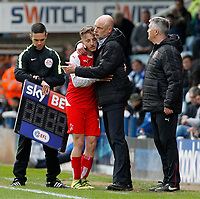 Fleetwood Town manager Uwe Rosler  embraces George Glendon after being substituted<br /> <br /> Photographer David Shipman/CameraSport<br /> <br /> The EFL Sky Bet League One - Peterborough United v Fleetwood Town - Friday 14th April 2016 - ABAX Stadium  - Peterborough<br /> <br /> World Copyright &copy; 2017 CameraSport. All rights reserved. 43 Linden Ave. Countesthorpe. Leicester. England. LE8 5PG - Tel: +44 (0) 116 277 4147 - admin@camerasport.com - www.camerasport.com
