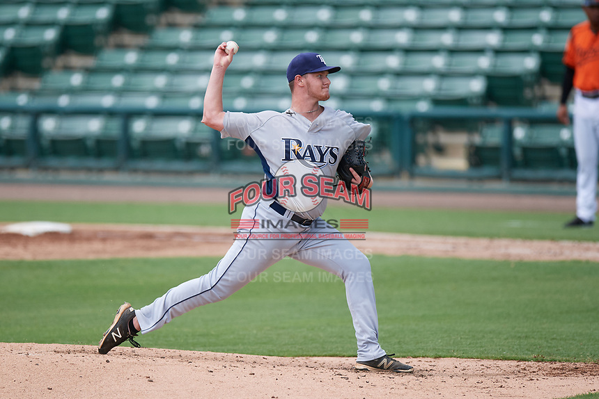 GCL Rays starting pitcher Justin Marsden (31) delivers a pitch during a game against the GCL Orioles on July 21, 2017 at Ed Smith Stadium in Sarasota, Florida.  GCL Orioles defeated the GCL Rays 9-0.  (Mike Janes/Four Seam Images)