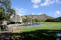 The Waikiki Shell ampitheater, with Diamond Head in the background. Waikiki, Hawaii RIGHTS MANAGED LICENSE AVAILABLE FROM www.gettyimages.com -- contact Sheldon for details