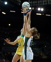 27.08.2016 South Africa's Erin Burger and Australia's Gabi Simpson in action during the Netball Quad Series match between South Africa and Australia at Vector Arena in Auckland. Mandatory Photo Credit ©Michael Bradley.