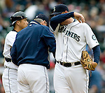 Seattle Mariners'  J.J. Putz  reacts after giving up a home run in the eight inning of Major League Baseball game against the Detroit TIgers in Seattle on Sunday, June 1, 2008. Jim Bryant Photo. ©2010. ALL RIGHTS RESERVED....