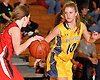 Allison Stackpole #10 of Massapequa, right, guards Sarah Solomon #3 of Syosset during a Nassau County Conference AA-I varsity girls' basketball game at Massapequa High School on Friday, Jan. 15, 2016. Massapequa won by a score of 60-33.