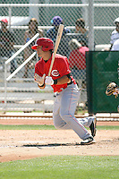 Ryan LaMarre #16 of the Cincinnati Reds plays in a minor league spring training game against the Cleveland Indians at the Reds complex on March 26, 2011 in Goodyear, Arizona. .Photo by:  Bill Mitchell/Four Seam Images.