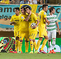 Villarreal's Gerard celebrates after he scores their second goal .